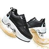JZIYH Zapatos Doble Rueda Patines Calzado Deportivo Al Aire Libre Niño Y Niña Zapatillas De Skate con Ruedas Patines En Línea Automática Calzado De Skateboarding