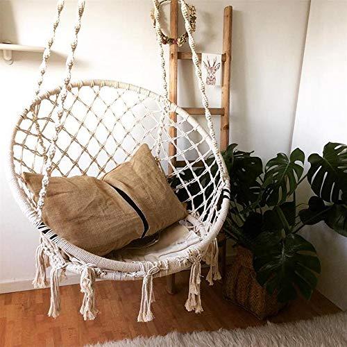 S SMAUTOP Silla Colgante Silla giratoria Tejido de Cuerda de algodón Silla de Hamaca Adecuado para Sala de Estar Lectura Balcón Jardín