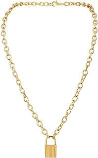 CHQIFE قفل قلادة الشرير الهيب هوب سلسلة قلادة الأزياء والمجوهرات للنساء الرجال