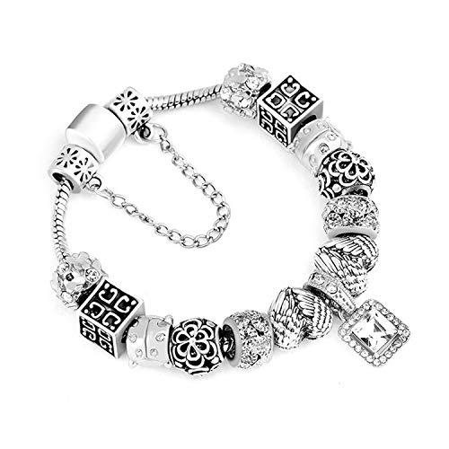 Pulsera Brazalete, Joyeria Regalo, New Vintage Charm Bracelet Couple & Key Beads Silver Color Snake Chain Pan'do'ra Bracelet Women DIY Jewelry Dropshipping A5 18cm