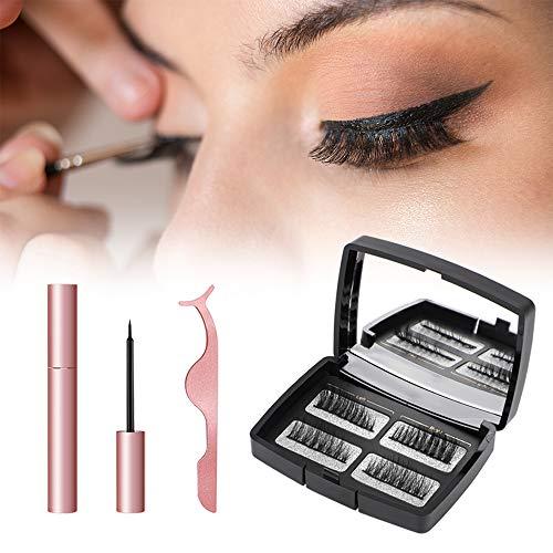Magnetische Wimpern, Magnetic Eyeliner, 5 Magnete, Falschen Wimpern Magnetischer Natürlicher für Makeup Wimpernverlängerung mit Clip