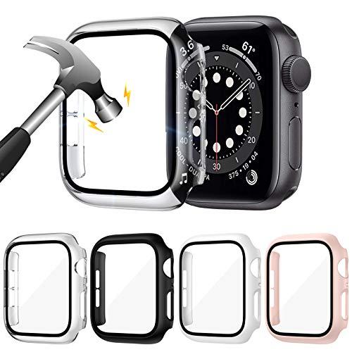 LORDSON [4 Stücke] Glas Schutzhülle Kompatibel mit Apple Watch Series SE/6/5/4 44mm Hülle, Matt PC Vollständige Abdeckung mit Gehärtetes Glas Schutzfolie Schutz Cover Hülle - 99,99prozent HD, Kratzfest