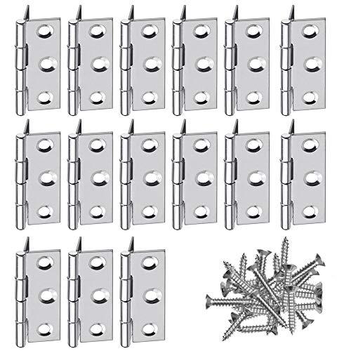 XAVSWRDE Bisagras Pequeñas para Madera 20 uds Mini Bisagras para Manualidades Bisagras de Libro de Acero Inoxidable Bisagras de Piano Bisagra Plegable com Tornillos para Caja/Puerta/Cajón(46 x 32 mm)