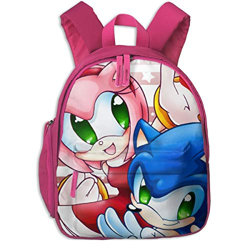 Water Resistant Infant Backpack, Sonic Rose Amy Watercolor Painting Fan Art Rucksack With Padded Shoulder Straps, Durable 80s 90s Elementary Bag For Boys Girls