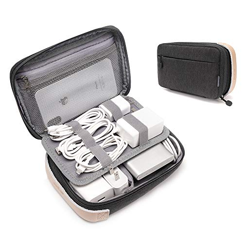 pack all Electronic Organizer, Cable Organizer Bag, Cord Travel Organizer for Cables, Chargers, Phones, USB cords, SD Cards (Black)