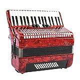 Boquite 【Regalo di Natale】 Fisarmonica, Rosso Professionale 34 Tasti 48 Pianoforte a Fisarmonica Strumento per fisarmonicista per Principianti Adulti per Principianti