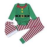 Homebaby 3 PCS Natale Costume Completi Bambino Neonato Ragazza Ragazzo Pagliaccetto + Pantaloni + Cappello Carina Partito del Vestito Pigiami da Regalo di Natale per La Famiglia