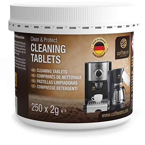 Coffeeano tabletki czyszczące do ekspresów do kawy, Clean & Protect, kompatybilne z Jura, Siemens, Krups, Bosch, Miele, Melitta, WMF i wieloma innymi, 250 sztuk