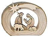 Kaltner Präsente Idea de regalo Belén de madera con Jesús, María y niño en un tronco con corteza...