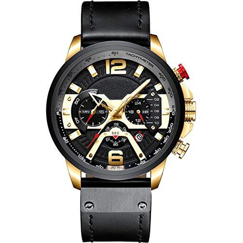 Herenhorloge, stijlvol casual horloge Multifunctioneel quartz horloge Waterdicht horloge met lichtgevende chronograaf datumfunctie,Gold