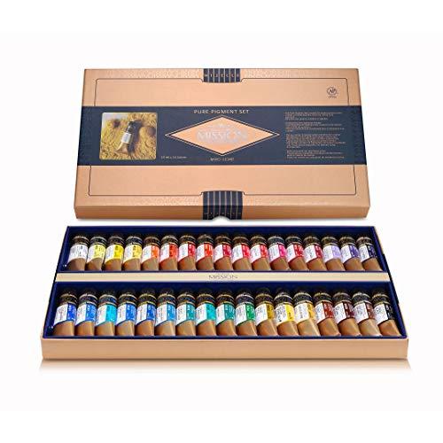 Mijello Mission Gold Class Pure Pigment Professional Grade Extra-Fine Watercolour - Set of 34 X 15 ml Tubes