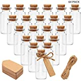 BELLE VOUS Bote Cristal Tapon Corcho (Pack de 64) -Mini Botellas de Cristal 10ml...