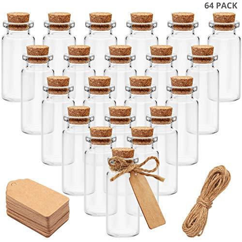 BELLE VOUS Mini Bouteilles en Verre (64 Pcs) - Fioles Verre 10ml avec Bouchon en Liège, Ficelle et 64 Etiquettes en Papier - Bouteille Miniature pour Loisirs Créatifs, Cadeaux, Mariage, Stockage