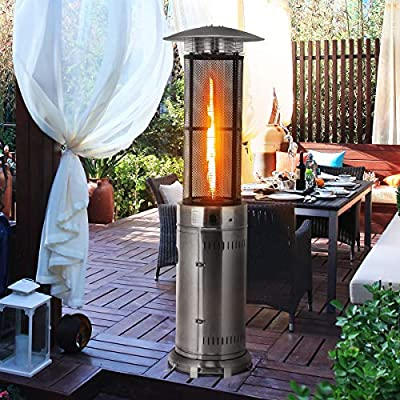 HAPPYGRILL Outdoor Patio Heater W/Adjustable Heat 41,000BTU, Stainless Steel Patio Propane Heater Freestanding with Wheels and True Flame for Garden, Balcony, Round Outdoor Heater with Quartz