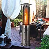 HAPPYGRILL Outdoor Patio Heater W/Adjustable Heat 41,000BTU, Stainless Steel Patio Propane...