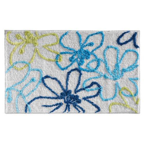 iDesign 19060EU microvezeltapijt Hibiscus, 86 x 53 cm, blauw / groen