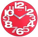 Design moderno orologio da parete da cucina Baduhr office Clock decorazione silenziosa LKU-rosso, nuovo
