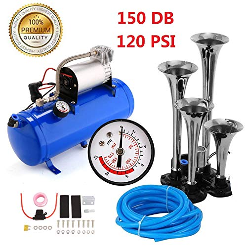 150DB Super Loud Train Horns kit for Trucks, 4 Air Horn Trumpet for Car Truck Train Van Boat, with 120 PSI 12V Compressor and Gauge (Royal Blue)