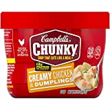 Ready to Eat Soup; Crafted with chunks of premium chicken meat with no antibioticsand hearty spaetzle dumplings, Chunky Creamy Chicken & Dumplings Soup is packed with protein and flavor to keep you fuller, longer, with no artificial flavors added 13...