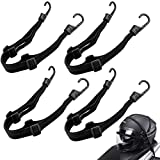 WZYTEU 4 correas tensoras para bicicleta, tensor ajustable con gancho para fijación de casco de moto, equipaje de bicicleta (negro, 60 cm)