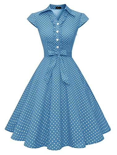 Wedtrend Vestido Vintage Escote V 1950s Cóctel Rockabilly Mujer Vestido Fiesta WTP10007BlueWhiteDotS