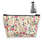 Golden Retriever Floral Dogs Storage Bag Pouch Portable Gift for Girls Women Large Capacity Cosmetic Train Case for Makeup Brushes Jewelry Casual Travel Bag