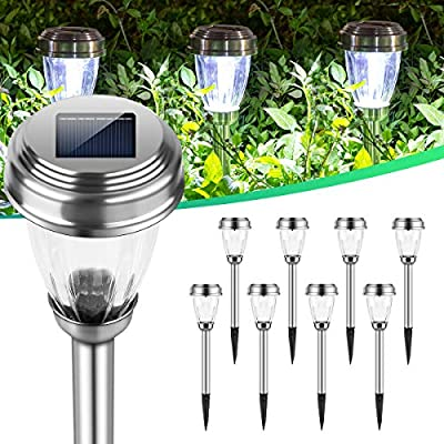 INSOME Ip65 Waterproof Solar Lights Outdoor, Solar Pathway Lights, Solar Garden Lights 8 Pack, 20 Lumen Bright Led Path Lights Solar Powered, Auto On/Off, Long Last, for Landscape Yard Lawn