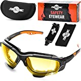 ToolFreak Spoggles Safety Glasses HD Yellow Polycarbonate Lens, Impact Protection , Foam Padded, ANSI Z87 Rated , Hard Case, Head Strap and Lens Cloth