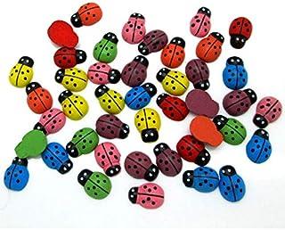 Lot de 50/100 boutons en bois en forme d'abeilles et coccinelles - Pour scrapbooking, travaux manuels, décoration - Access...
