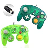 Reiso 2 Packs NGC Controllers Classic Wired Controller for Wii Game Cube(Moss Green and Deep Green)