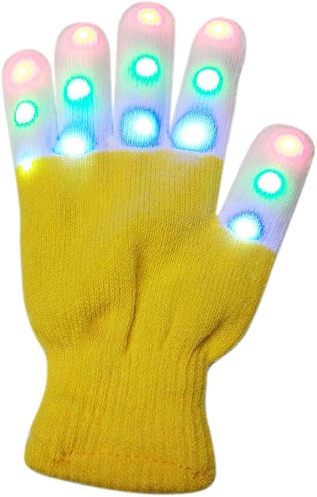 Topyuan Children LED Gloves With Led -Warm Gloves-7 Light Modes Finger Light Finger Toys, Halloween/Christmas Party Supplies