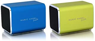 Music Angel Friendz Speaker Twin Pack Bundle for iPhone/iPad/iPod/Mp3/Laptop/Smartphone - Blue/Lime