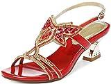 YooPrettyz Low Heel Evening Sandals Embellished Stud Butterfly Dress Party Wedding Sandal Red 7