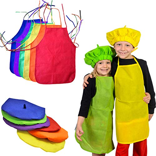 Funny Party Hats Kids Aprons  Kids Smock Apron  Cooking Apron  Painting Smock  6 Pack of Aprons and Berets - Youth Costume