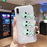 iPhone Xs Max Case, Funny Aliens Design Slim Fit Soft TPU Shockproof Back Cover Cute Pattern Thick Clear Novelty Bumper Shell iPhone Xs Max Case 6.5 Inch, [Middle Finger Aliens]