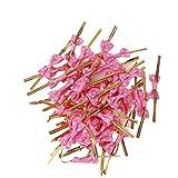 Casadeiy Ca.50pcs Bowknot Geschenke Wrapping Metallic Twist Krawatten für Party Bäckerei Cookie Candy Bags (Dunkelpink)