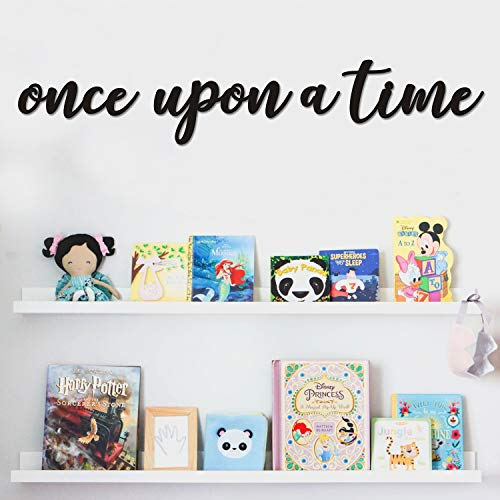 Huray Rayho Once Upon a Time Wood Sign Nursery Wall Hanging Decor for Toddlers Kids Room, Bookshelf, Reading Nook - Great Gift Ideas for Baby Shower, Kids Birthday, Gender Reveal