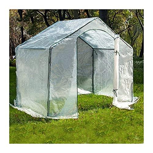 BBZZ - Mini serra portatile da giardino per esterni giardino, con porta di ventilazione retrattile, colore: bianco, dimensioni: 180 x 105 x 153 cm
