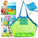 Nifhoo Mesh Beach Bag, Quality Foldable Extra Large Beach Bags And Totes Toys & Shell Storage Bag Quick Dry Net Tote for Kid's Beach Sand Toys Away From Sand Pool Supplies Storage Bags Picnic Backpack