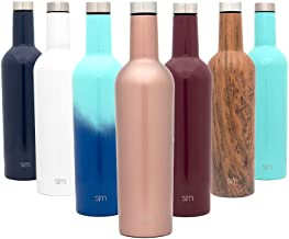 Simple Modern Spirit 25oz Wine Bottle - Double Wall, Vacuum Insulated Wine Bottle with Leak Proof Lid - 18/8 Stainless Steel Rose Gold