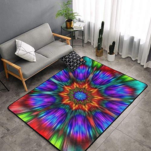 Bedroom Livingroom Sitting-Room Queen Size Kitchen Rugs Home Art - Trippy Tie Dye Mandala Colorful Floor Mat Doormats Fast Dry Bathroom Rug Mat Yoga Mat Throw Rugs Runner
