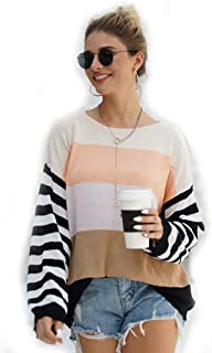 KCatsy Women Casual Plus Size Striped Colorblock Crew Neck Pullovers Sweater