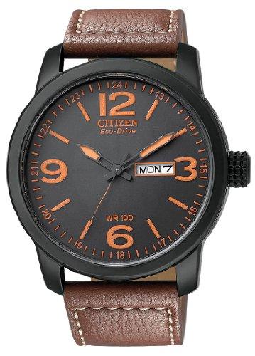 Citizen Military Men's Black Anodized Eco-Drive Black Dial Brown Leather Strap BM8475-26E