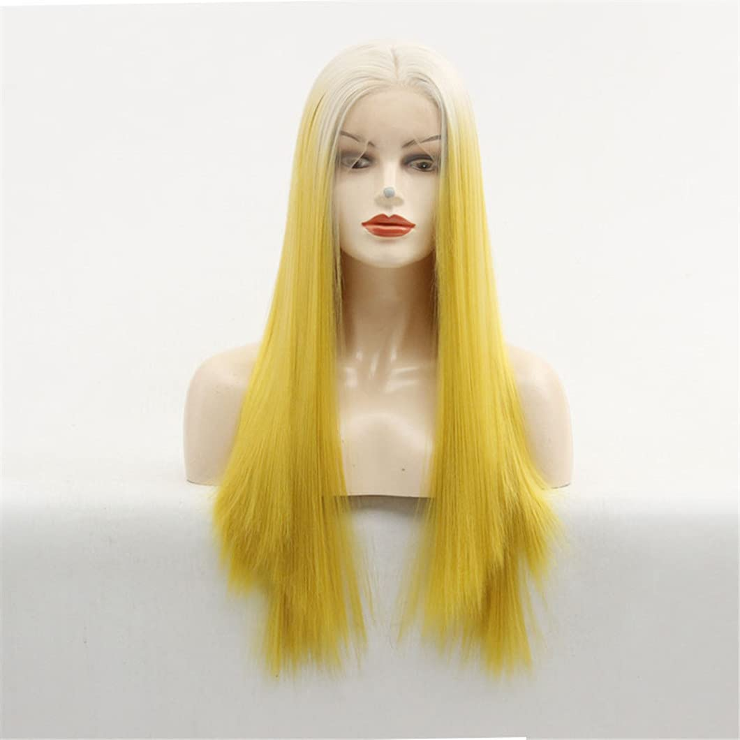 sale Ombre White Blonde To Yellow Lace Straight Sikly Front Long Wig Max 87% OFF