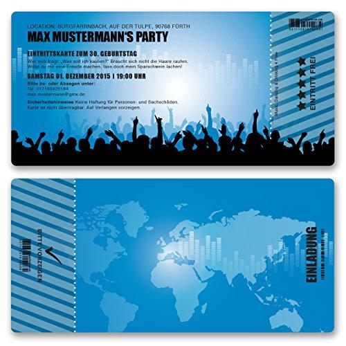 (10 x) Einladungskarten Geburtstag Eintrittskarte Party Ticket Einladungen Blau