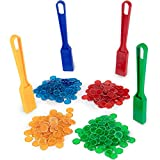 Magnetic Bingo Wands, 4-Pack & 400 Metal Chips - Bulk Accessories for Senior & Family Game Nights - Educational STEM Kits for Classroom Learning, Sensory Bins, Science Toys for Kids Counting & Sorting