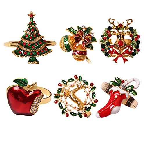 WIVAYE Juego de 6 anillos de servilleta de Navidad, varios anillos para decoración de mesa, con diamantes de imitación para decoración de bodas, banquetes de Navidad, decoración de fiestas en el hogar