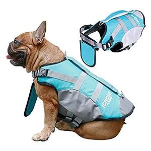 iChoue Dog Life Jackets Saver Swimming Vest Floating Plate for English Bulldog Labrador Golden Retriever (Blue, XL)