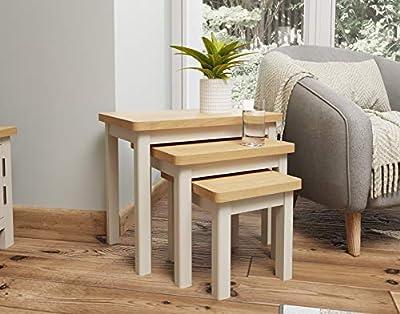 Dorset Grey Oak Nest of Tables   3 Nesting Lounge Tables   Truffle Grey