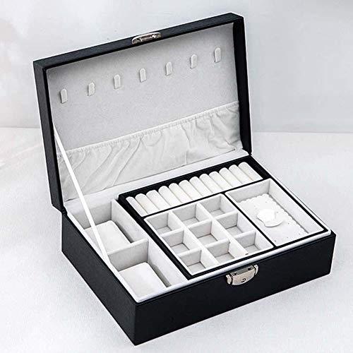 QWSNED Caja de joyería,Caja de maquillaje de cuero portátil,Caja de almacenamiento de doble capa de gran capacidad,Caja de joyería para mujeres,Organizador de joyas